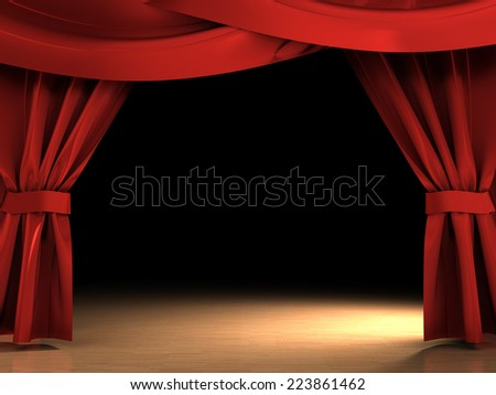 3d illustration of red curtains opened over dark scene - stock photo