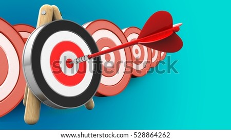3d illustration of red dart with archery target stand over targets background