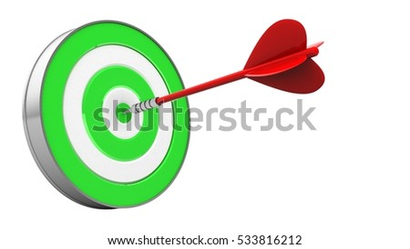 3d illustration of red dart with green target over white background