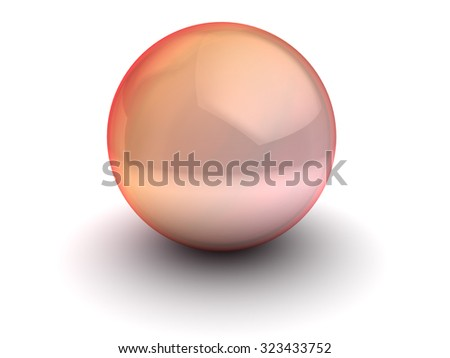 3d illustration of red glass sphere over white background - stock photo