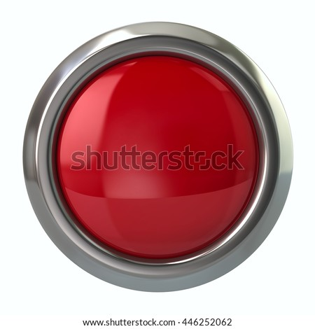 3d illustration of red glossy button isolated on white background - stock photo