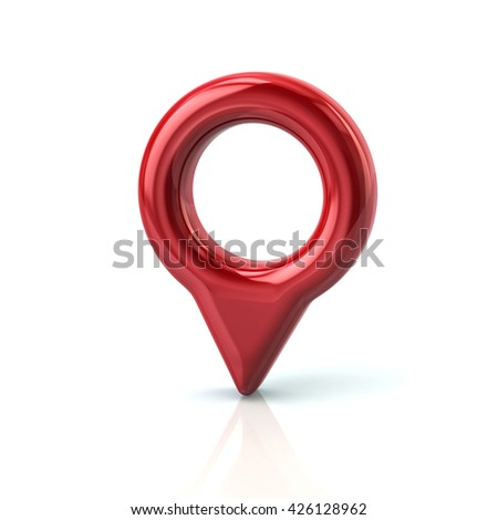 3d illustration of red map pointer pin isolated on white background