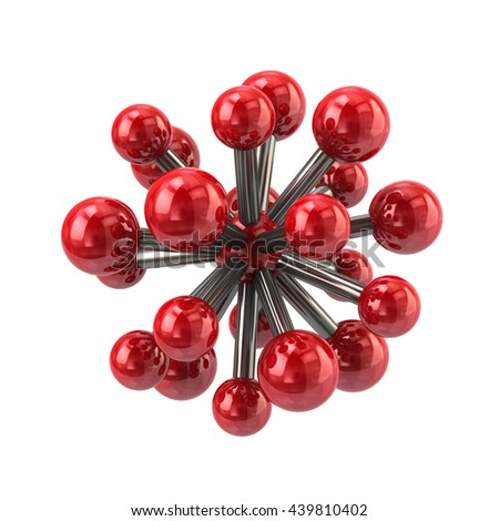 3d illustration of red molecule icon isolated on white background - stock photo