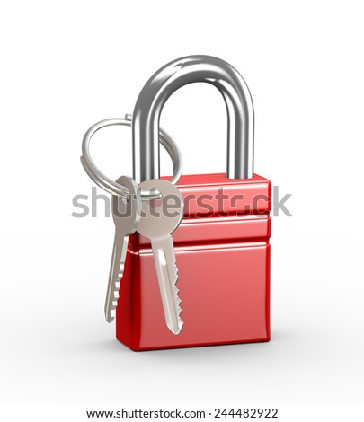 3d illustration of red padlock and keys