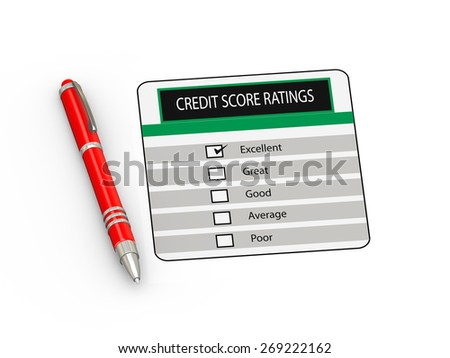 3d illustration of red  pen and credit score rating