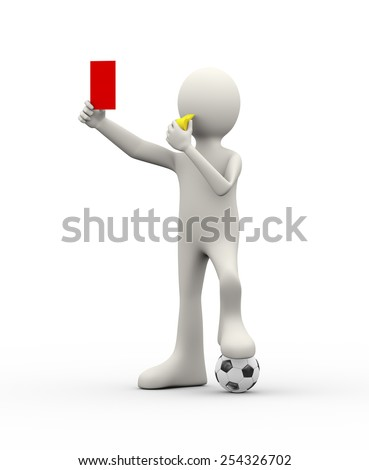 3d illustration of referee arbiter with whistle showing red card. 3d human person character and white people