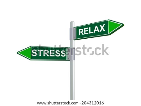 3d illustration of relax and stress road sign - stock photo