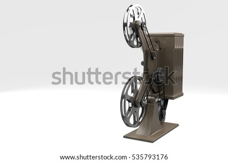 3D illustration of retro movie projector isolated on white left side view