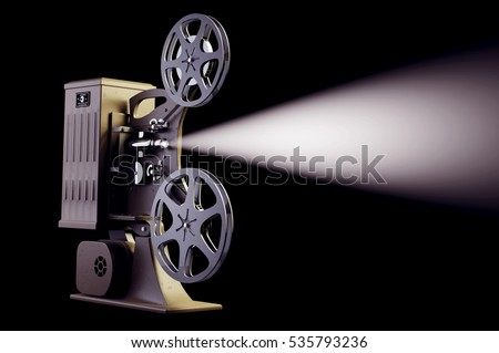 3D illustration of retro movie projector with light beam isolated on black right side view