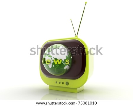 3D illustration of retro TV - stock photo
