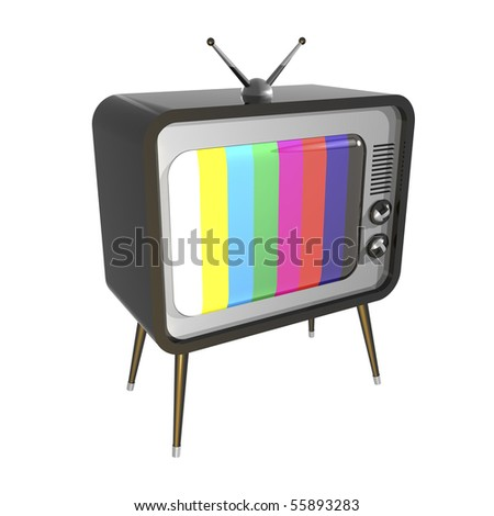 3D illustration of retro TV. Color check pattern on screen.