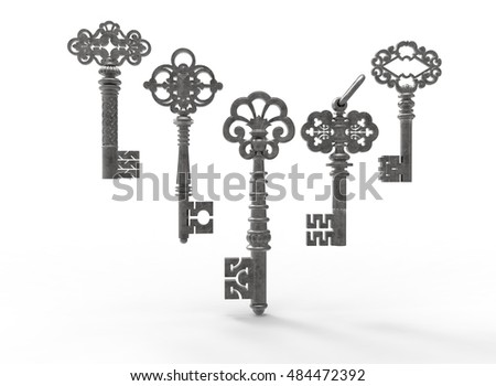 3d illustration of retro vintage keys. white background isolated. icon for game web.