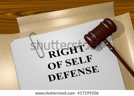 3D illustration of RIGHT OF SELF DEFENSE title on Legal Documents. Legal concept. - stock photo