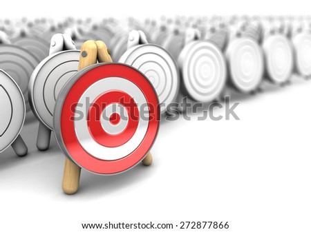 3d illustration of right target choice concept - stock photo
