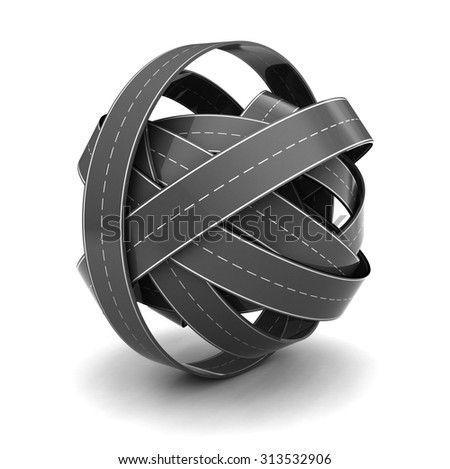 3d illustration of road knot, over white background - stock photo