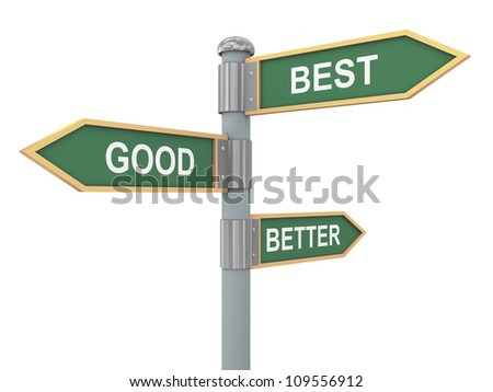 3d illustration of road signs of words good better best - stock photo