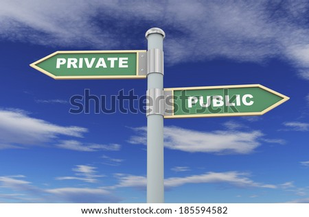 3d illustration of road signs of words public and private - stock photo