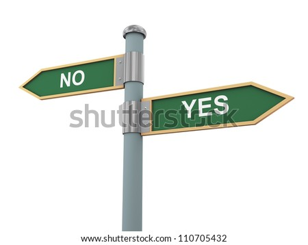 3d illustration of road signs of words yes and no - stock photo