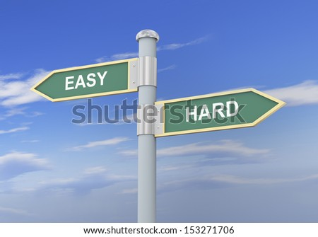 3d illustration of roadsign of words easy and hard. - stock photo