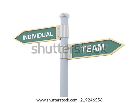 3d illustration of roadsign of words individual and team - stock photo