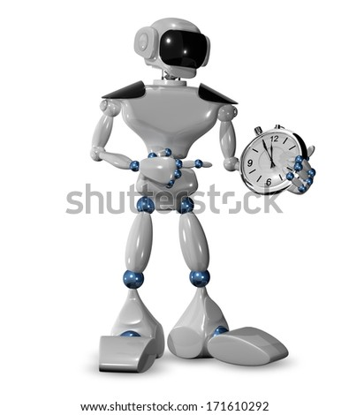 3d illustration of  robot and a watch  - stock photo