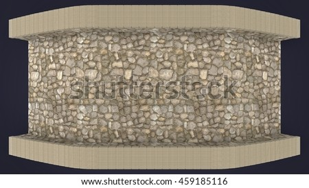 3d illustration of rock bridge. white background isolated. icon for game web.