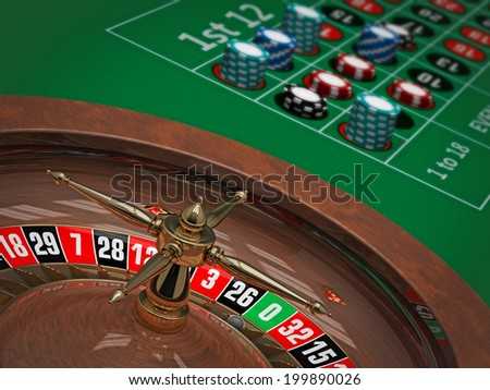3d illustration of Roulette wheel & table in Casino