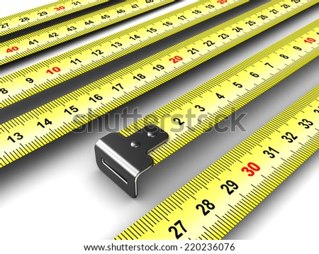 3d illustration of ruler tapes background, closeup render - stock photo