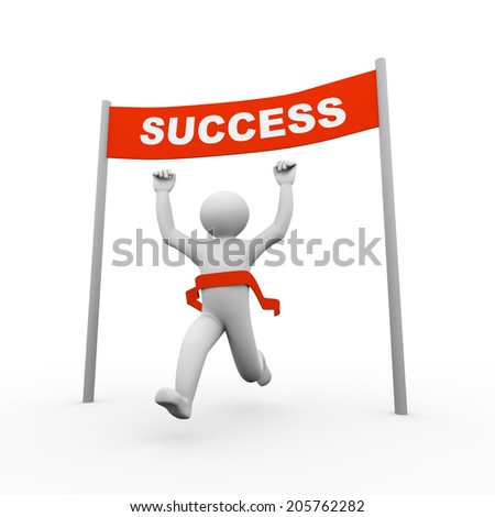3d illustration of running person crossing winning success banner. 3d human person character and white people - stock photo