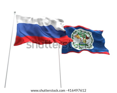 3D illustration of Russia & Belize Flags are waving on the isolated white background
