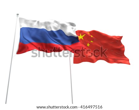 3D illustration of Russia & China Flags are waving on the isolated white background
