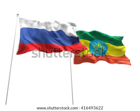 3D illustration of Russia & Ethiopia Flags are waving on the isolated white background - stock photo