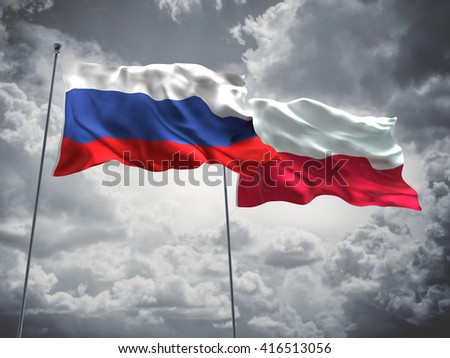 3D illustration of Russia & Poland Flags are waving in the sky with dark clouds  - stock photo