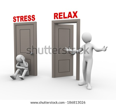 3d illustration of sad and upset person sitting in front of stress door. Happy and relaxed person posing in front of open relax door. 3d rendering of human people character. - stock photo