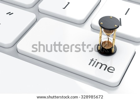 3d illustration of sandglass on the computer keyboard. Time concept  - stock photo