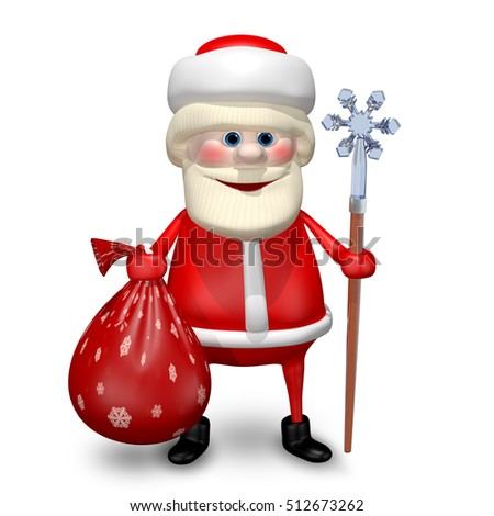 3D Illustration of Santa Claus with Bag and Staff