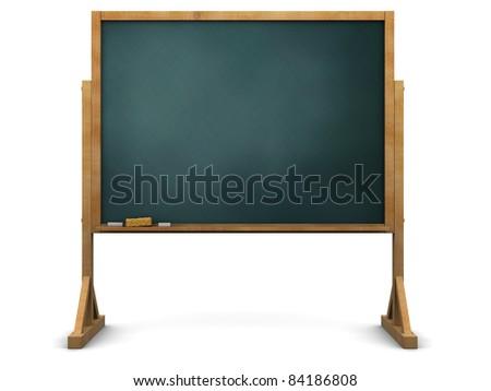 3d illustration of school  blackboard over white background - stock photo