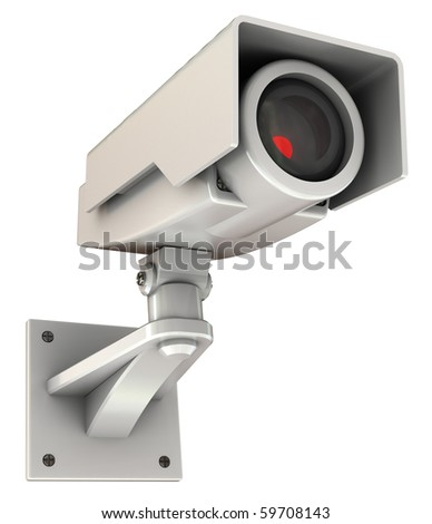 3d illustration of security camera with red light inside, isolated on white - stock photo