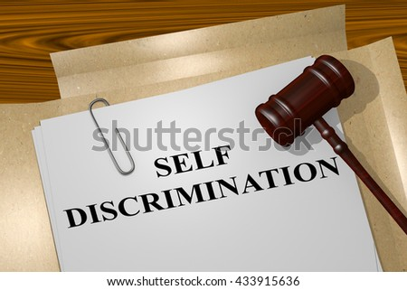 "3D illustration of ""SELF DISCRIMINATION"" title on Legal Documents. Legal concept."