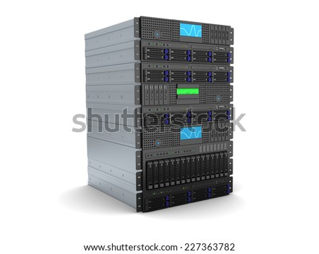 3d illustration of server rack stand over white background
