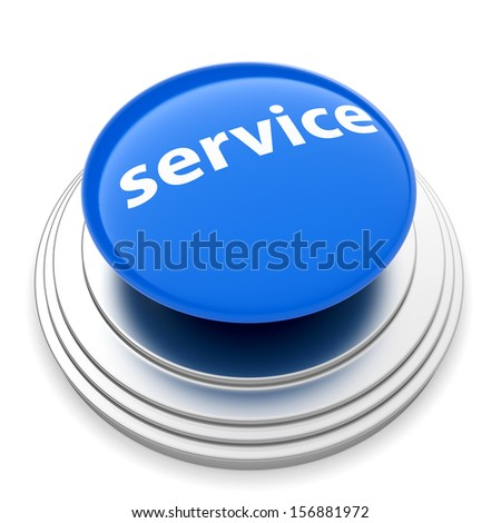 3d illustration of service push button concept. Isolated on white backgroud - stock photo