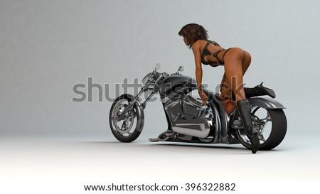 3D illustration of sexy biker girl posing on chopper bike - stock photo