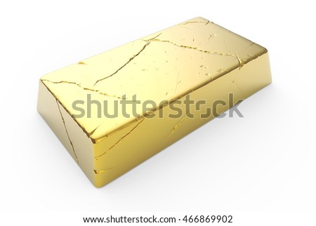 3D illustration of shiny gold ingot with scratches and reflections isolated on white background