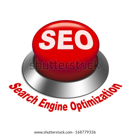 3d illustration of shiny seo (search engine optimization) button isolated white background