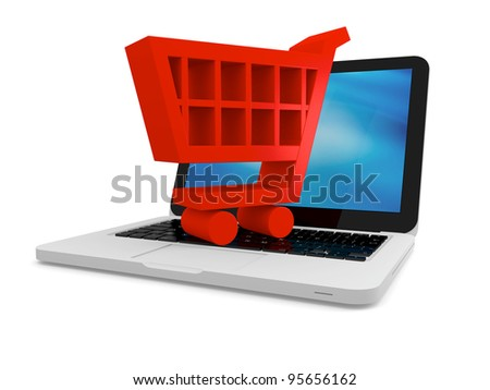 3D illustration of shopping cart symbol on a laptop