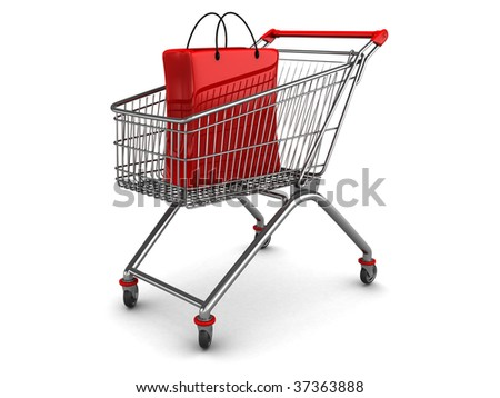 3d illustration of shopping cart with shopping bag inside