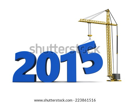 3d illustration of sign 2015 and crane, over white background - stock photo