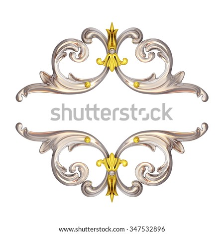3d illustration of silver ornaments on a white background