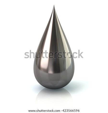 3d illustration of silver paint ink drop icon isolated on white background