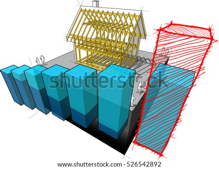 3d illustration of simple detached house with wooden framework construction with abstract business diagram and hand drawn sketch over last diagram bar